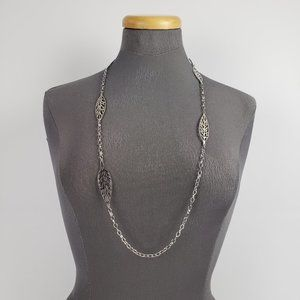 Silver Leaf Chain Necklace & Earrings Set